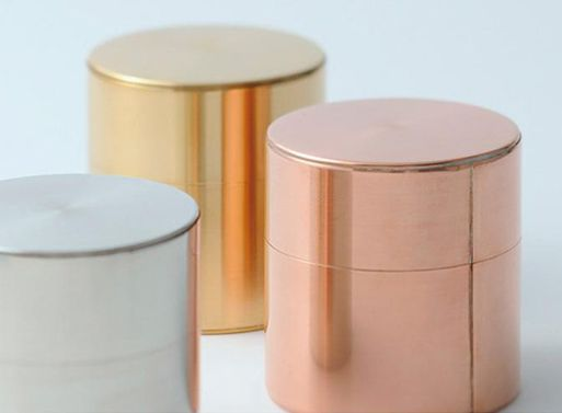 Tea and coffee canisters by Kaikado, a family in Kyoto that has kept the technique alive since 1875. It takes more than 130 processes to complete one single canister. Available in Copper, Brass, or Tin.