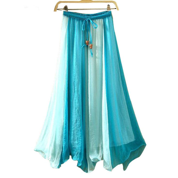 5 colors!  Free Shipping Slippy Silk Feeling Girl Bohemian Style Chiffon Long Blue Skirt Summer Holiday Beach skirts