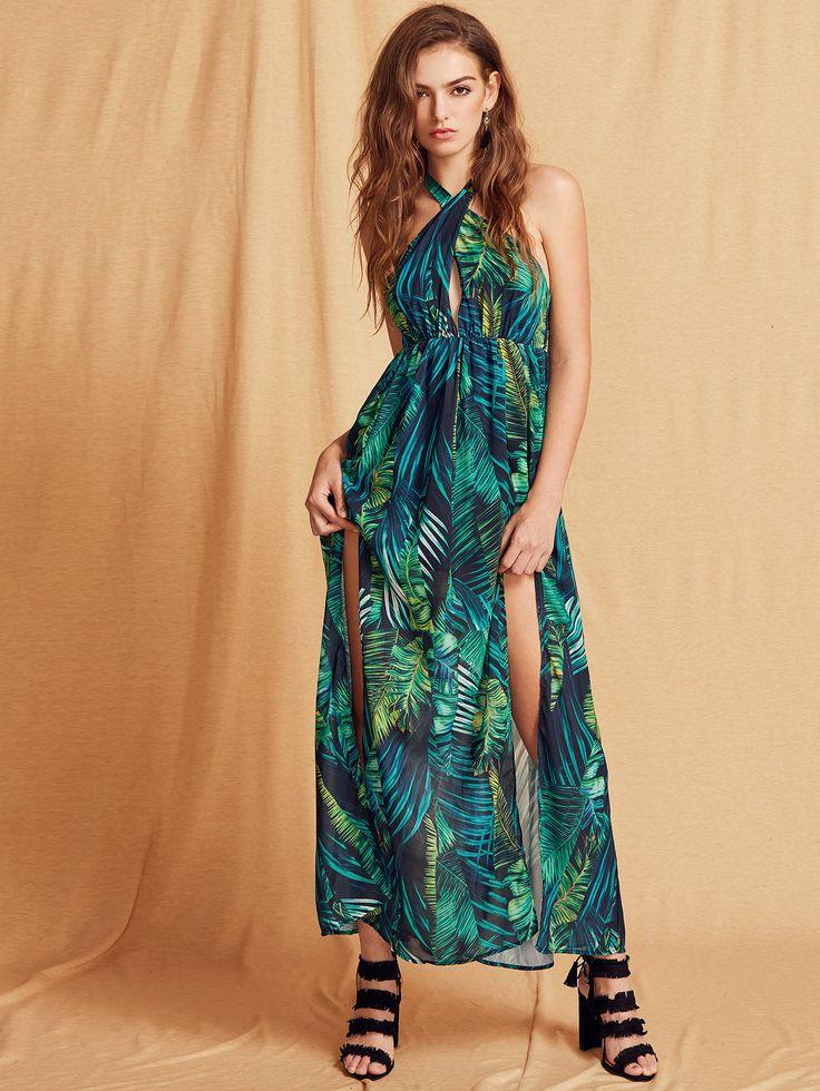 Green Cross Neck Keyhole Foliage Print Side Split Dress