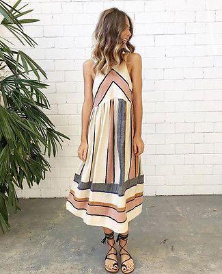 Frauen Sexy Sommer Kleid Boho Maxi Langes Strandkleid sommerkleid Striped Printed Vintage Print Eine Linie Split Maxi Kleid S-XL