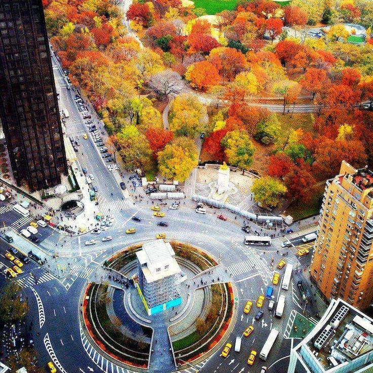 Central Park in fall colors & Columbus Circle at West 59th Street, NY, NY