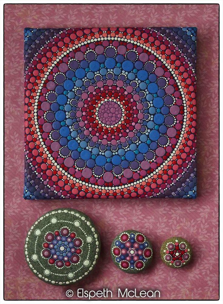 A collection of Elspeth McLean Mandala artwork #mandala #heartchakra #meditation #fineart #elspethmclean #rockart