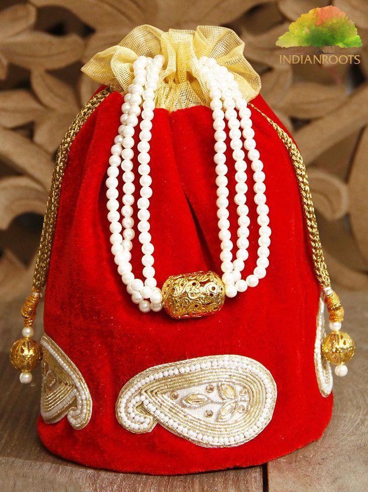 Red Velvet Potli Bag by Trinity Arts