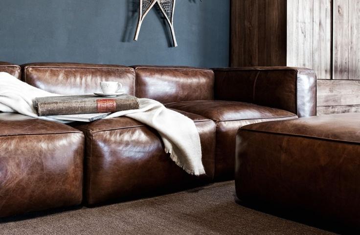 bruine-lederen-zetel exclusief groot formaat kwaliteit cognac leder - Exclusive…
