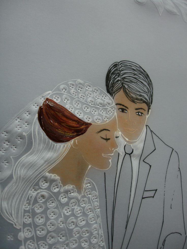 empezamos pintando el cabello de la novia  con acrilicos marron oscuro y se dan rayos con el acrilico dorado