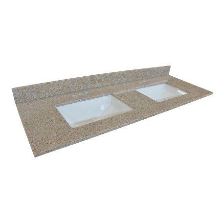 Design House 563247 Double Bowl Granite Vanity Top 61 Inch Golden