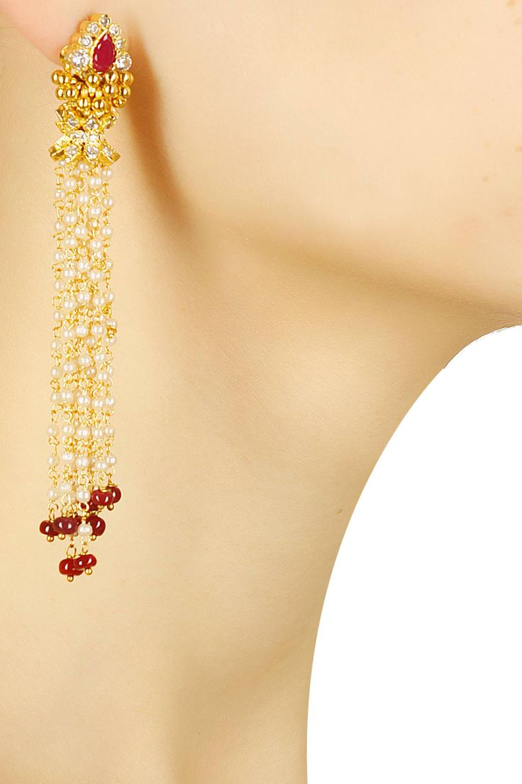 Gold finish ruby and pearl chain fringe earrings available only at Pernia's…