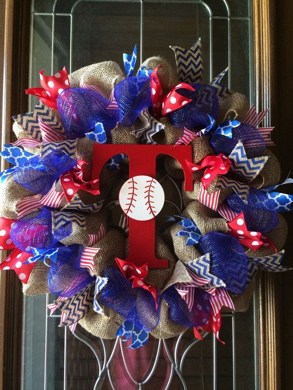 READY TO SHIP  Texas Rangers Burlap Wreath by TheWhimsyWreath