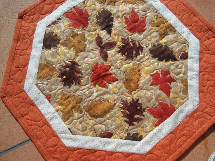 Festive Fall Quilted Table Topper.  The beautiful fall leaves will help you celebrate all the fall holidays! by CreativeCreationsDeb on Etsy