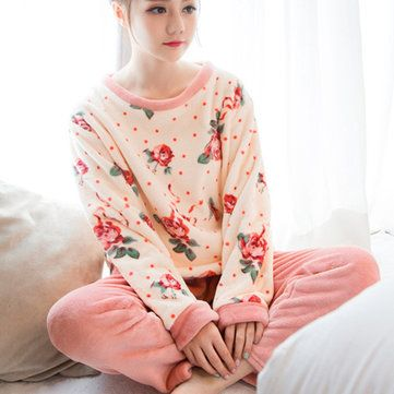 Women comfy lace long sleeve sleepwear leisure breathable round collar nightwear sets petite sleepwear and robes – Best Fashion Woman