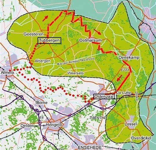 Twentepad_kaart 'toptrail' 31 km Tubbergen-Ootmarsum-Oldenzaal [Piet Smulders]