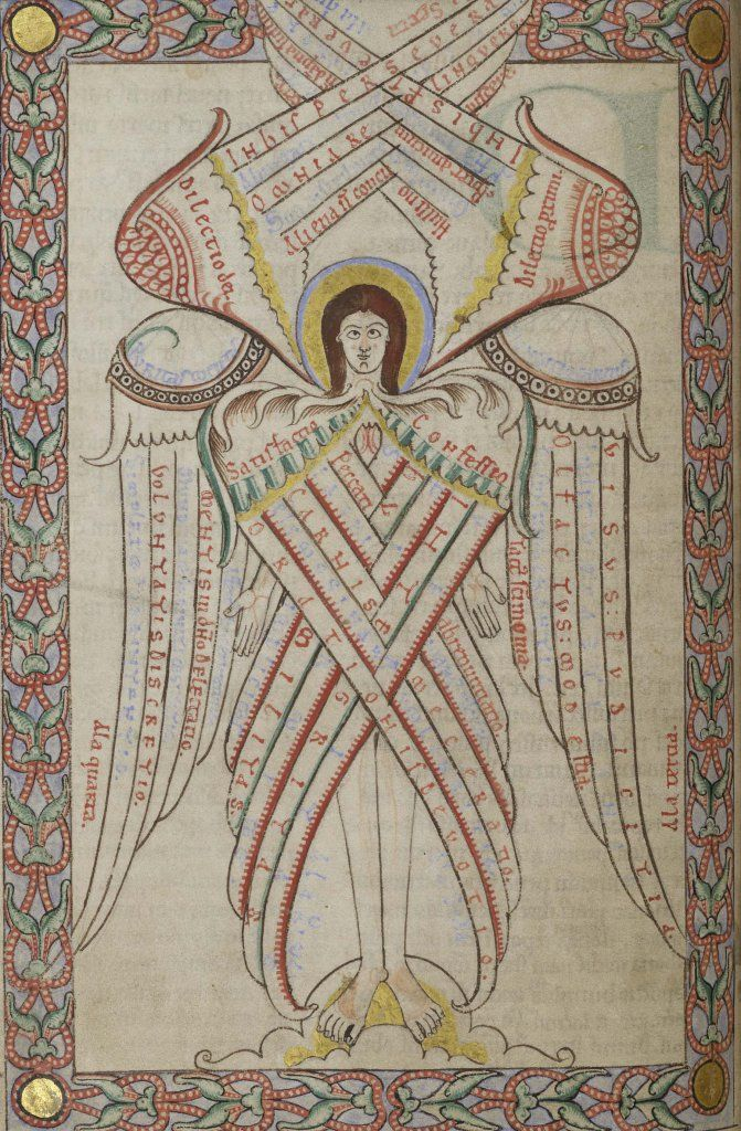 Six-winged seraph from MS 66 (late twelfth-century manuscript)