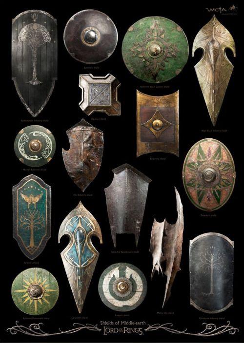 <p>Los escudos de la Tierra Media en la trilogía de <b>El señor de…