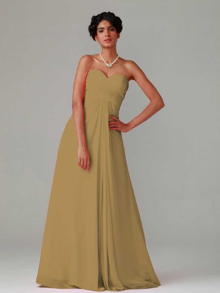 Pin to Win a Wedding Gown or 5 Bridesmaid Dresses! Simply pin your favorite dresses on www.forherandforhim.com to join the contest! | Pleated Bodice Chiffon Dress £97.82