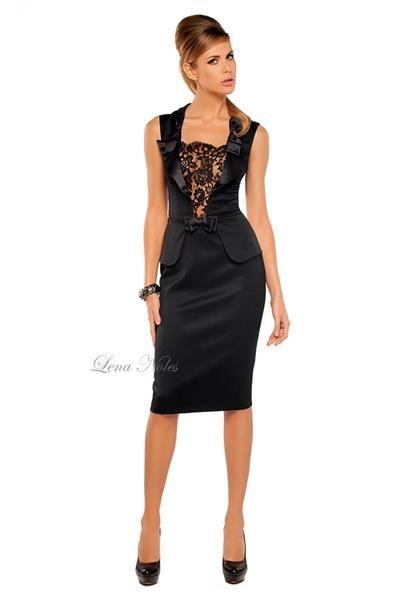 Платье вечернее черное с кружевом