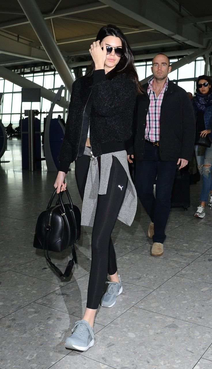 Kendall Jenner.. Acne Studios Tyson Boucl Jacket, Puma Tights, Puma Sneakers, and Givenchy Lucrezia Bag..
