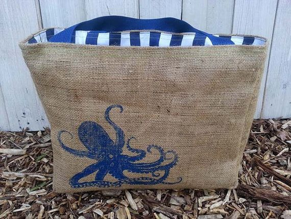 EcoFriendly Octopus Market Tote Bag Handmade by WhiteAppleDesigns, $20.00