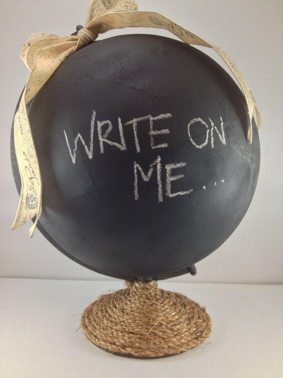 Fun Shabby Chic Chalkboard-Painted Globe with Sisal Rope Base & Chic Paris Ribbon
