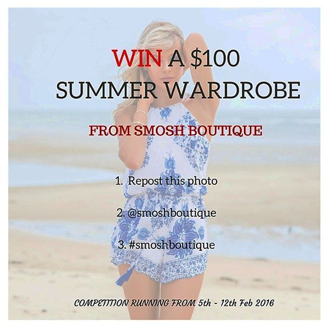 IT'S COMPETITION TIME!! Simply repost this image,  @smoshboutique & #smoshboutique for your chance to win $100 new wardrobe.  Comp closes midnight on the 12th Feb