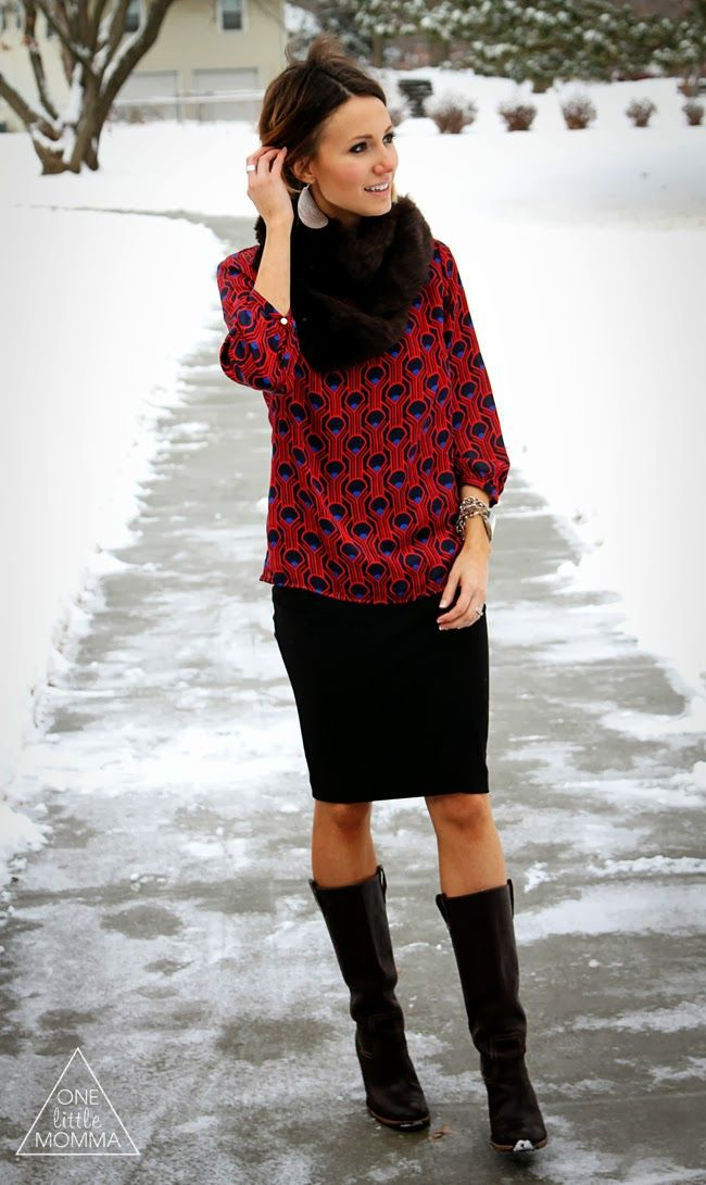 pair a fur scarf with a bright printed blouse pencil