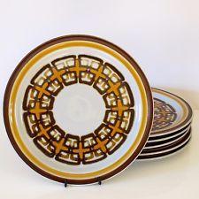 Casual Ceram 'Electra' Style 'Bordeaux' Six Dinner Plates c.1975