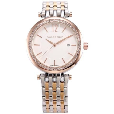 Taylor Cole Brand Women Bracelet Watches Auto Date Rose Gold Silver