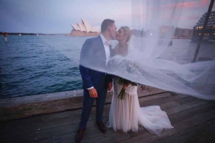 Congratulations to our bride and groom Jess and Nick on a beautiful wedding. Instyle Bridal, Jack Sullivan, Keeley, lace, Ivory and champagne, wedding dress, Australian designer, couture, pretty, sydney harbour, opera house, ocean.