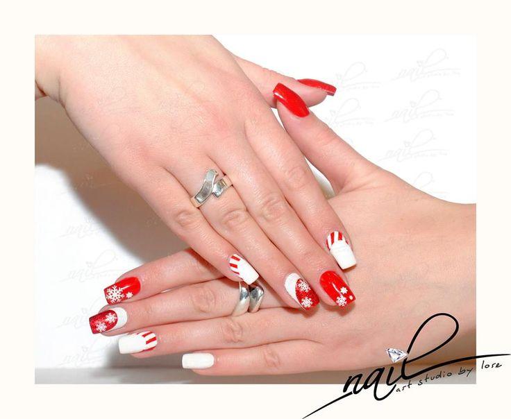 nails snowflakes red white christmas design nail art