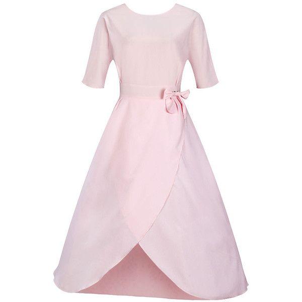 Bowknot Slit Plain Round Neck Midi Skater Dress ($38) ❤ liked on Polyvore featuring dresses, midi dress, short dresses, calf length dresses, round neck dress and round neckline dress