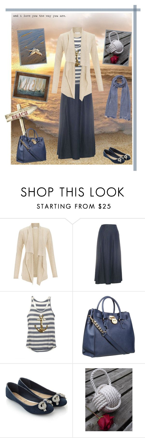 """""""This Way to the Beach"""" by julailala ❤ liked on Polyvore featuring Monsoon, Kaliko, MICHAEL Michael Kors, Accessorize, John Lewis, nautical, stripes, maxi skirts, cardigans and ocean"""