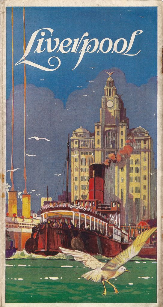 """What a wonderful illustration of the Mersey ferry, Pier Head and the Liver Building - all in a very lush, rich style and slightly American - I think it is a very fine item of commercial art. Oddly no artist, nor printer is given - the only clue is that you were advised to contact The Liverpool Organisation.  I will quote from the brochure - """"Liverpool is the twentieth century stripped for action. It is a beautiful and complicated working model of our civilisation"""". There."""