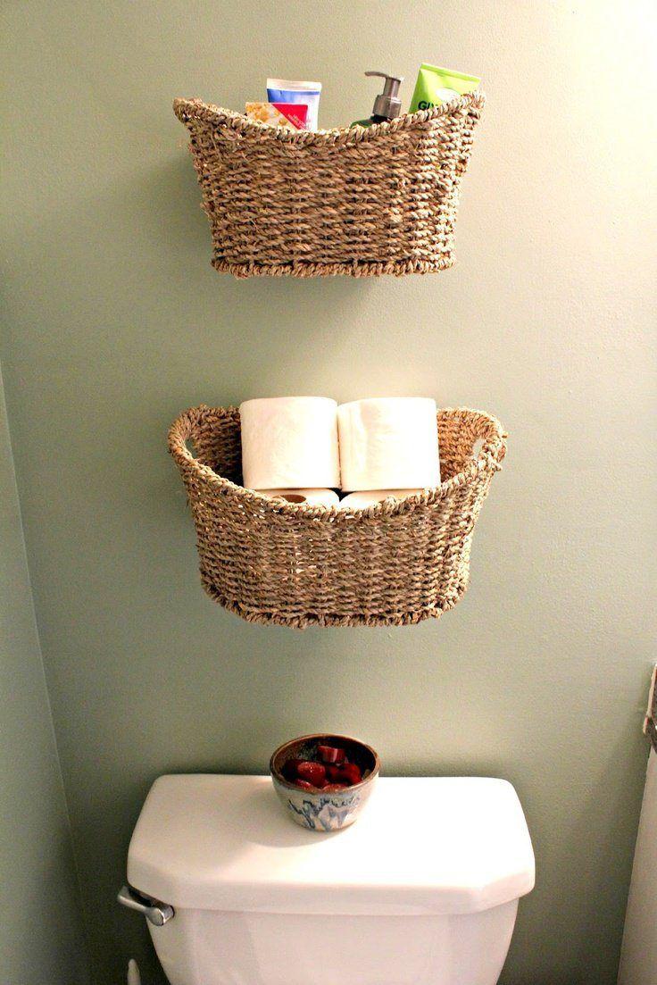 cestas como almacenaje para baño pequeño