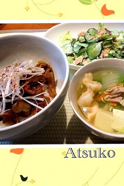 ガッツリ豚丼をたべました(≧∇≦) - 24件のもぐもぐ - 豚どん、白菜スープ、ツナサラダ by teketeke05