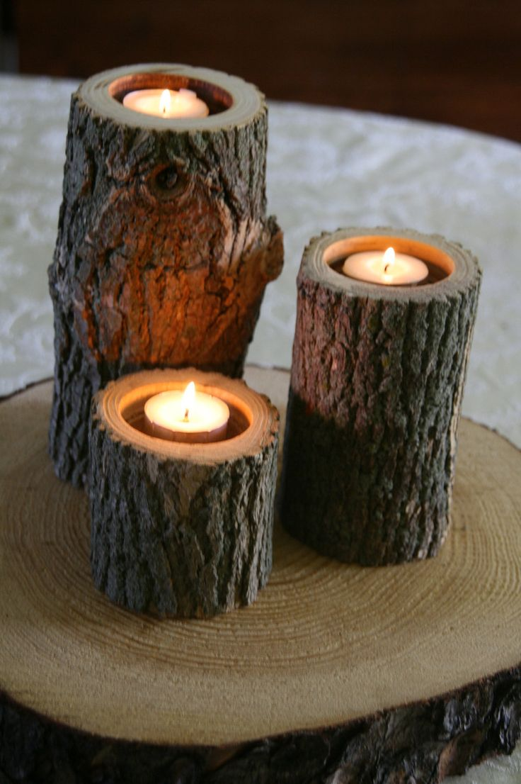 Set of 3 - Tree Branch Candle Holders - Wood Candle Holder for Wedding, Center Piece,  Rustic Decor. via Etsy.