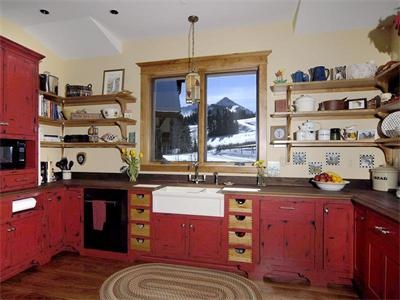 Distressed Red Cabinets My Kitchen Walls Are Blue Jean Curtains
