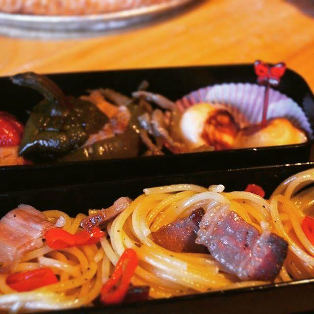 #bento #gricia #spaghetti peppers Tuna and bocconcini di scamorza #cheese