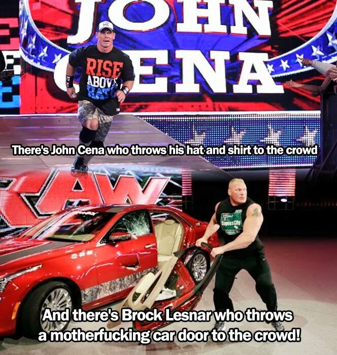 The Difference Between John Cena And Brock Lesnar (Picture)