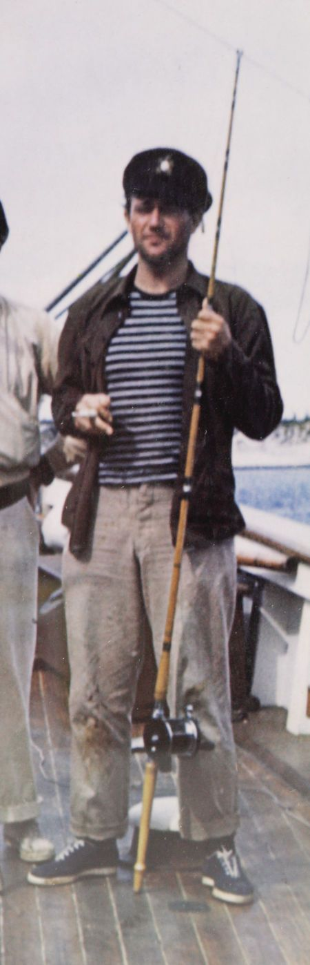 A DAY AT SEA.  John Wayne on the deck of John Ford's fishing yacht - 1940s.