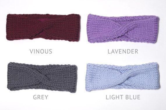Sky Blue Turban Ear Warmer Headband Boho Knit by OneHatStore