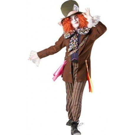 Déguisement Chapelier Fou Mad Hatter Alice aux pays des merveilles Homme avec chapeau et cheveux attachés sous licence officielle Alice in Wonderland Disney, Film de Tim Burton.