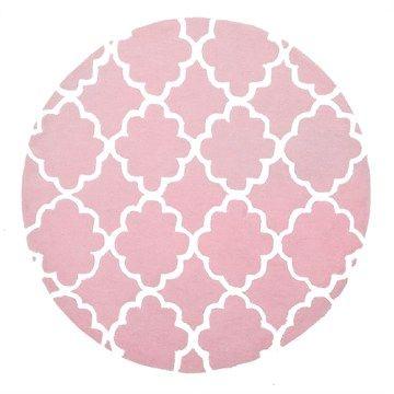 Trellis Design Round Kid Rug in Pale Pink - 150x150cm