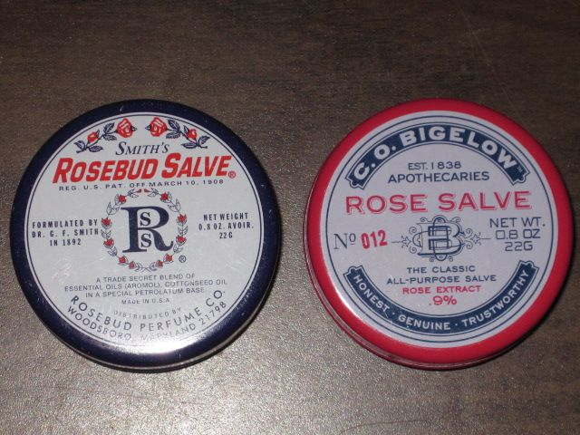 The true difference between Smith's Rosebud Salve and C.O. Bigelow's Rose Salve.Products Comparison, Rosebud Salve, Smith Rosebud, Rose Salve,  Hockey Puck, Tiny Bit, Beautiful Reductionista, True Difference, Bigelow Rose