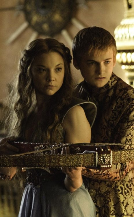 "King Joffrey ""Baratheon"" and his queen-to-be, Margaery Tyrell (widow of ""King"" Renly Baratheon)"