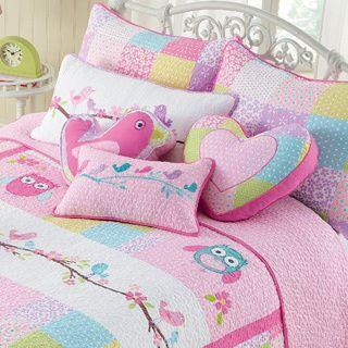 Pink Owl 3-piece Quilt Set
