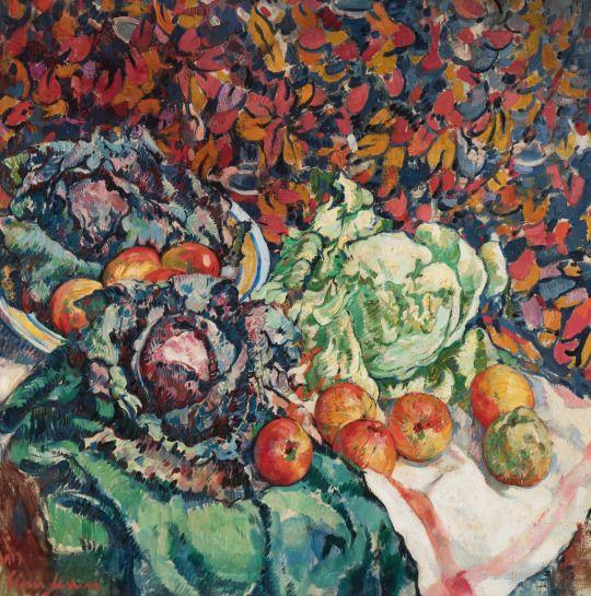 Floris Jespers (Belgian, 1889-1965), Nature morte aux choux et pommes [Still life with cabbages and apples], 1917. Canvas, 100 x 100 cm.