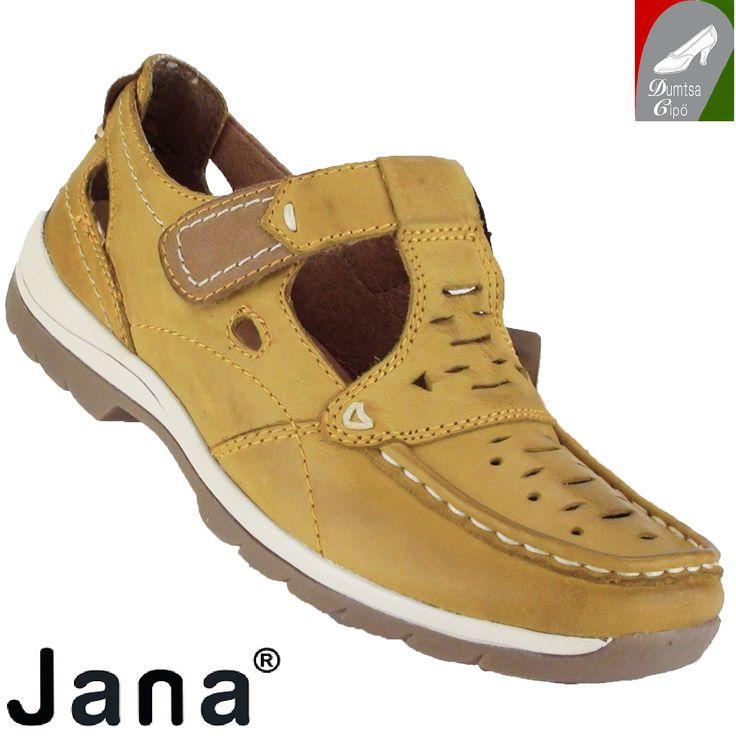 """Cikkszám: 8-24620-24 650 curry  Sportos, kényelmes tavaszi/nyári női bőr cipő , gyönyörű curry színben a Jana kollekciójából. A bőr talpbélés kivehető. A nyers bőr cserzésénél/festésénél  kizárólag növényi eredetű anyagokat használtak. A modell tépőzárral záródik, valamint """"H"""" szélességű, azaz szélesebb lábfejre ajánlott  anyaga:  felsőrész: bőr  belsőrész: bőr  talp: szintetikus  sarokmagasság: 2,5 cm  szín: curry  Ár: 22 990 Ft"""