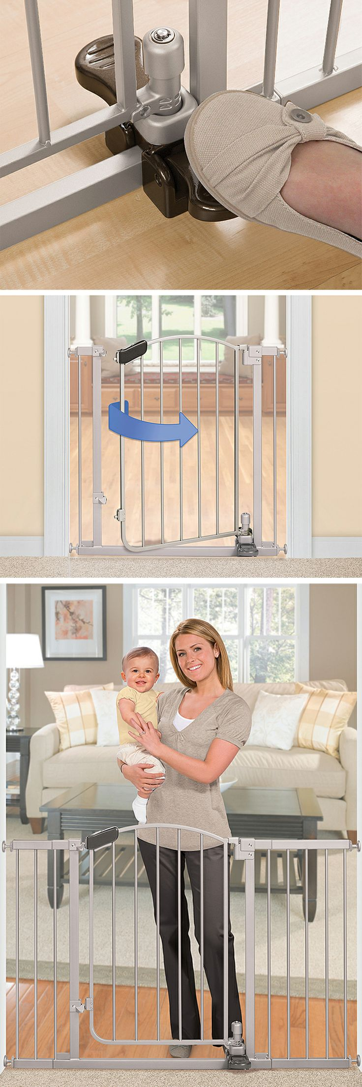 Hands free step-to-open child safety gate // finally, a smart product for a mama who has both hands full! More hygienic, too. Clever. #product_design