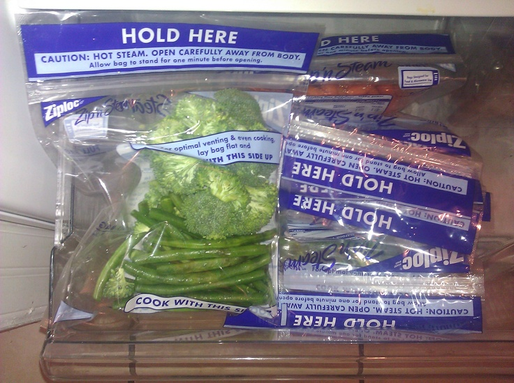 Chop your veggies, throw them in the Ziploc Steamer Bags (they come in different sizes to fit your needs). Now you have your veggies for the week. Too easy.