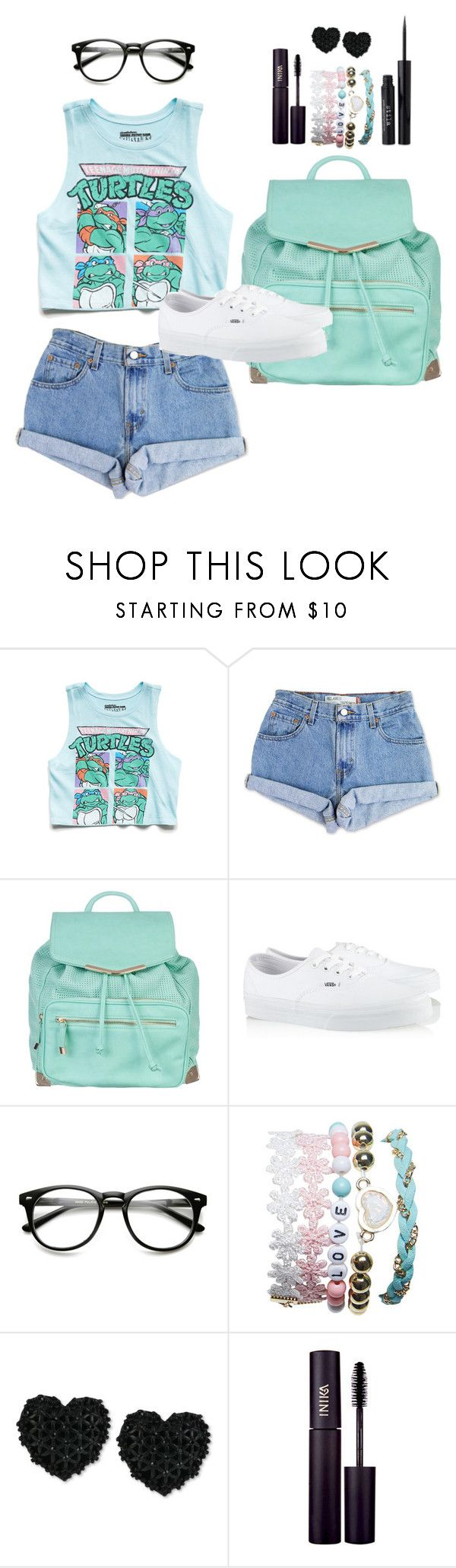 """I ♥ Mikey (T.M.N.T.)"" by missdianaleigh ❤ liked on Polyvore featuring Forever 21, Levi's, Atmos&Here, Vans, Wet Seal, Betsey Johnson, INIKA and Stila"