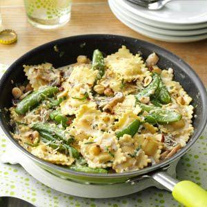 Ravioli with Sugar Snap Peas and Mushrooms - from Taste of Home magazine